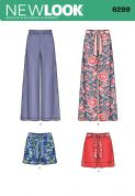 6289 New Look Pattern: Misses' Pull On Trousers or Shorts and Tie Belt